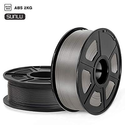 SUNLU ABS 3D Printer Filament, ABS Filament 1.75mm Dimensional Accuracy +/- 0.02 mm, 2 kg Spool, 1.75mm, ABS Black+Gray