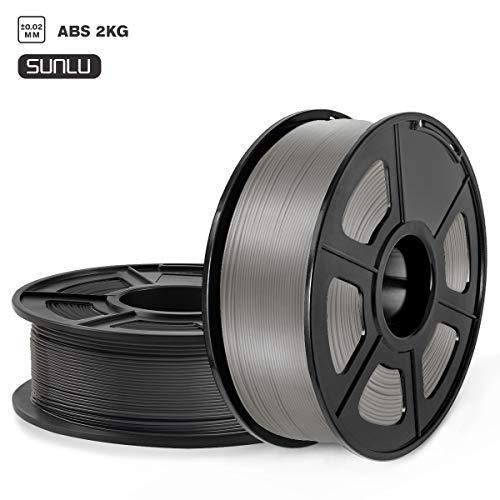 SUNLU Filamento ABS 1.75, Stampante 3D ABS Filamento 2KG Spool Tolleranza del diametro +/- 0,02 mm,ABS Nero+Grigio