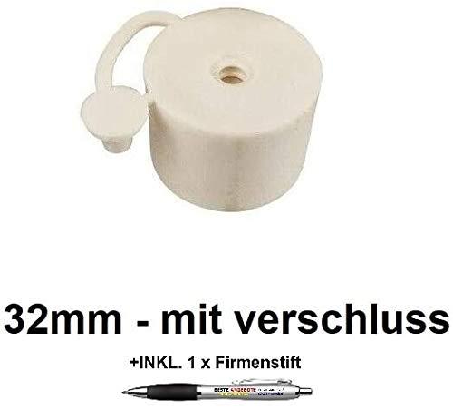 Beste Angebote Gummistopfen Gummikorken Gärspund Gärverschluss Stopfen Gäraufsatz [10 Größe] (32mm - mit Verschluss)