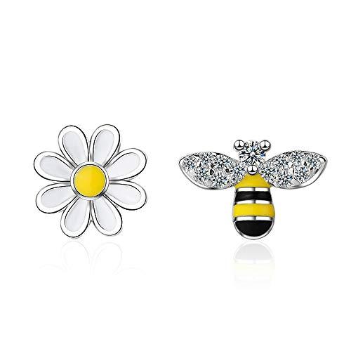 Orecchini a perno da donna in argento asimmetria a forma di ape e fiore