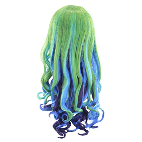 Mobestech 1Pc Costume Women Wig Cosplay Long Curly Wig Decoration for Party Colorful