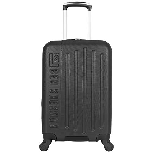 Ben Sherman Leicester 20' Lightweight Durable Hardside 4-Wheel Spinner Carry-On Luggage, Black With Gray