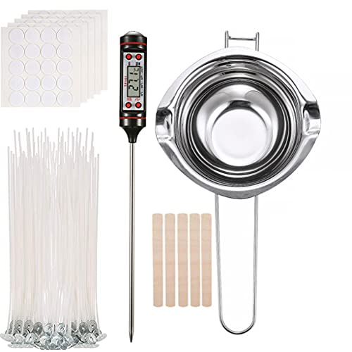 Xuebai DIY Kit de Herramientas de elaboración de Velas, Velas de Bricolaje, Herramientas de artesanía, Mecha de Velas, fabricación de Velas en Forma de T, crisol de Plata