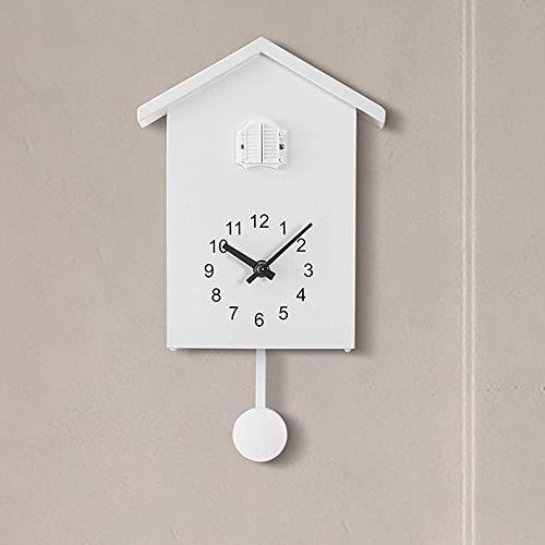 OUJIE Cuco Reloj De Pared,Estilo Nórdico 7 Puntos A 20 Puntos Pajarito por La Ventana Hora Informe Reloj T60 Dormitorio Plastico Forma del Techo Reloj De Péndulo,Blanco
