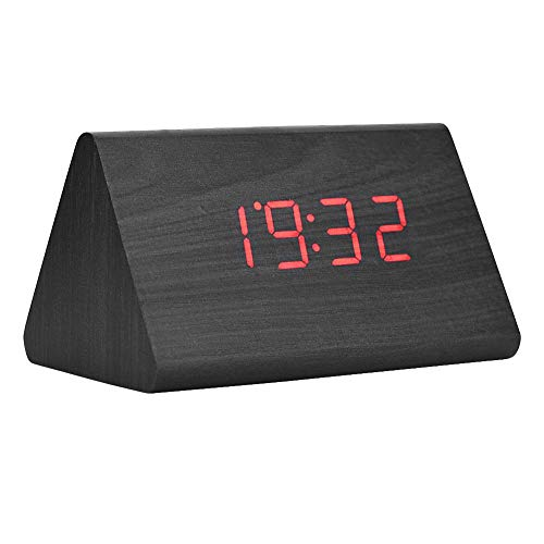 Wireless Electronic Alarm Clock, Digital Wooden Clock with LED Display, with Voice Control Function(Black)