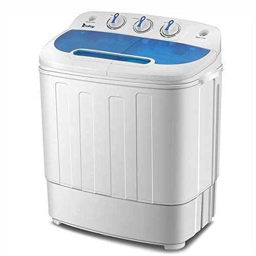 Portable Washing Machine, 13.4 lbs Compact Twin Tub Washer & Spin Dryer Combo for Apartment Dorm RV Camping Dorms College, Energy & Space Saving, Laundry Spin Cycle with Hose