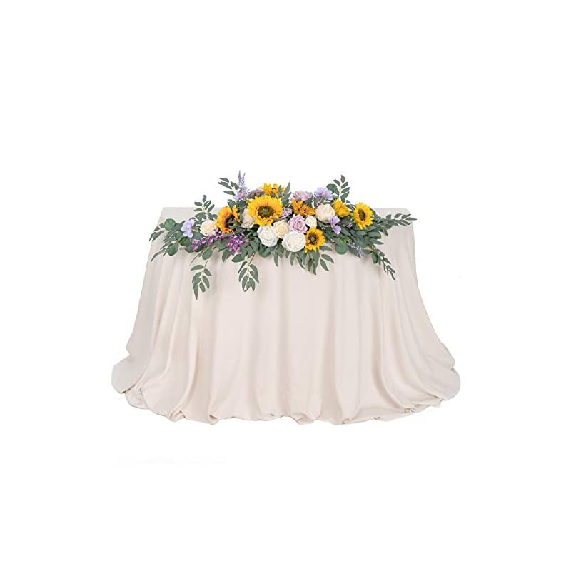 silk flower arrangements ling's moment artificial flower swag floral arrangement centerpiece for wedding reception sweetheart table decorations tablecloth included (sunflower & lilac)