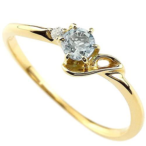 [アトラス]Atrus 指輪 レディース 18金 イエローゴールドk18 アクアマリン ダイヤモンド イニシャル ネーム J ピンキーリング 華奢リング アルファベット 3月誕生石 人気 22号
