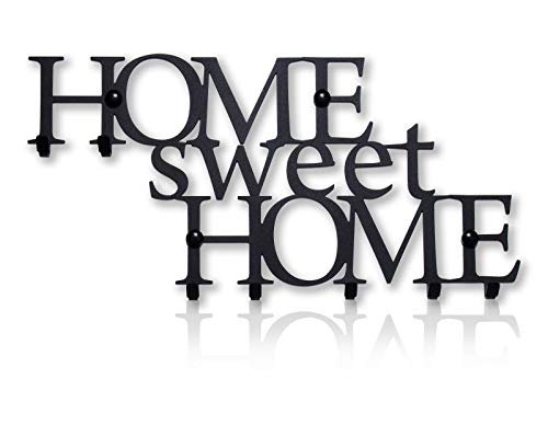 M-KeyCases Home Sweet Home Garderobenhaken Schlüsselbrett für Wand (8-Haken-Gestell) Dekorativer Metallhänger Moderne Garderobenleiste Garderobenhalter, Kleiderhaken | Vintage Decor