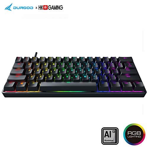 Durgod HK Venus RGB Mechanische Gaming-Tastatur – 60% Layout – Double Shot PBT Cherry Profil – NKRO – USB Typ C – Aluminiumgehäuse Schwarz schwarz Gateron Brown