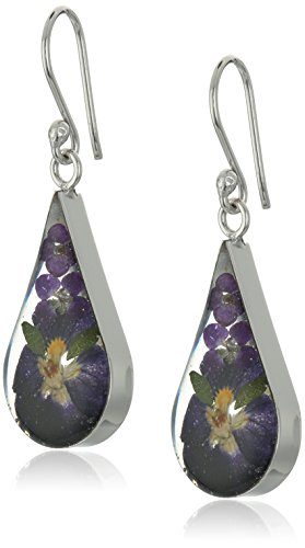 Sterling Silver Pressed Flower Purple Teardrop Earrings, 18'
