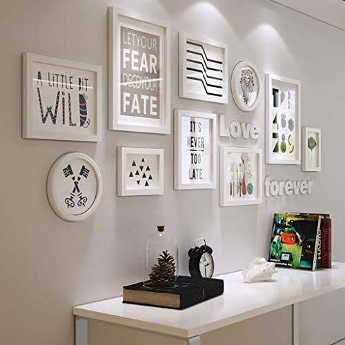 Bois Massif Photo Cadre Photo Combinaison Salon Décoration Murale Canapé Fond Mur Cadre Photo Cadre (Couleur : All White)