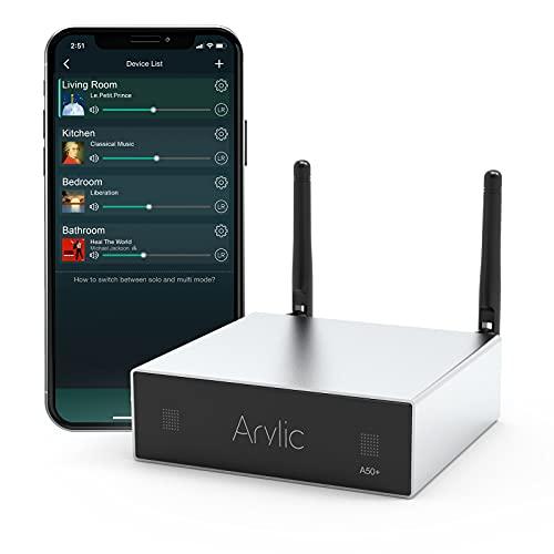 WiFi und Bluetooth Heimverstärker STA326 Mit 50 + 50W 24V DC/2.0 Stereokanal, Airplay DLNA, Multiroom/Multizone Sync, 24bit 192 kHz HiFi Audio Streaming Integriert für Lautsprecher.Arylic Up2stream A50