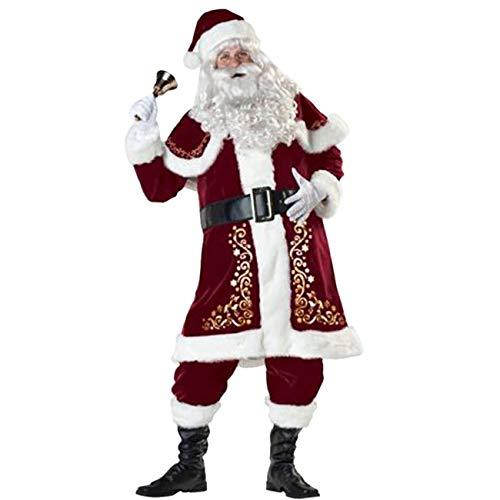 ShiyiUP Weihnachtsmann Kostüm Nikolaus Kostüm Weihnachtsanzug Herren Weihnachten Verkleidung Santa Claus Costume