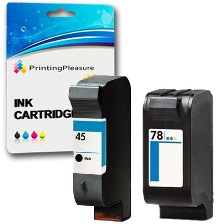 Printing Pleasure 2 Compatibles HP 45 & HP 78 Cartuchos de Tinta para HP Officejet 1170 G55 G85 G95 K60 K80 Photosmart 1000 1100 1115 1215 1218 1315 P1000 P1100 P1100xi - Negro/Color, Alta Capacidad