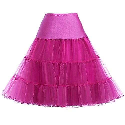 Einfach Unterrock für 50s vintage Rockabilly Kleid 1950 Petticoat Reifrock Underskirt Brautkleid Fuchsie Größe L CL008922-12,C1,Fuchsie