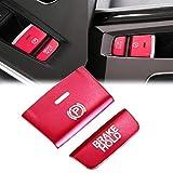 Xotic Tech Handbrake Button Cap Compatible with Honda Accord 2018-2020, Red Aluminum Car Electronic Handbrake Parking P Gear Brake Hold Frame Cover Decal Trim