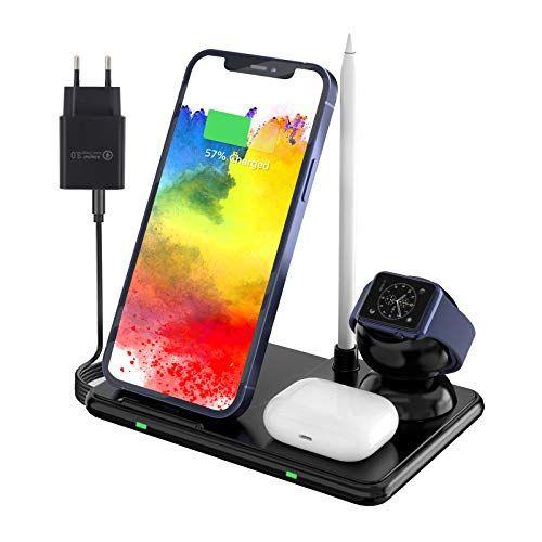 Wireless Charger Qi Ladegerät 4 in 1 Induktive Ladestation kabelloses Kompatibel mit iPhone /11 Pro Max/XS MAX/XR/XS/X/8/8+, Galaxy Note 10/S10e/S10/S9, AirPods