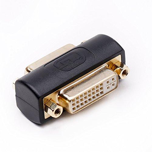 DVI Adapter mit Doppelkupplung, DVI Buchse zu DVI Buchse (Weibliche) Monitoradapter Konverter Schwarz Vergoldet