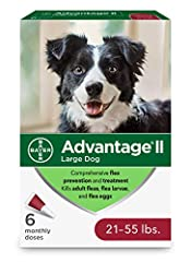 6-dose large dog flea prevention, topical flea treatment for large dogs weighing 21-55 pounds Easy-to-apply and pre-measured application tubes, fragrance-free and designed specifically to treat and prevent fleas on dogs Advantage II large dog flea tr...