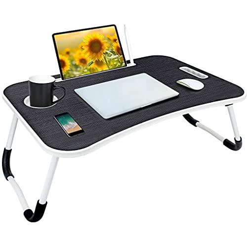 Soporte plegable de la bandeja del desayuno del ordenador portátil, la tabla del ordenador portátil con la ranura de la taza y la ranura de la tableta, se usa para desayunar, leer y ver películas en l