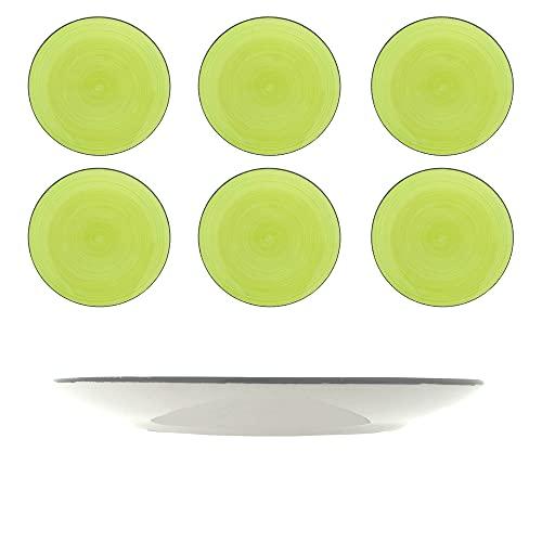 Juego de 6 platos de postre, platos de gres para 6 personas, platos de postre de 19 cm, vajilla de gres pintada a mano, color verde