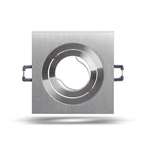 Preisvergleich Produktbild Mextronic Halogen-Einbaurahmen GU10: Ø 81mm - eckig 6711 (Aluminium gebürstet)