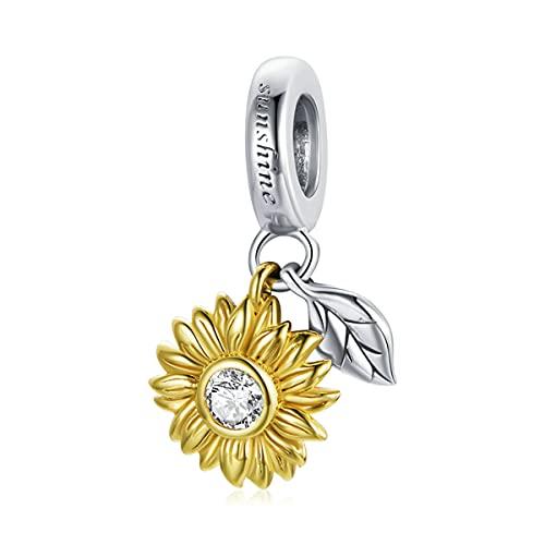 WMYDYBD 925 Encanto de Plata esterlina Brillante de Girasol Hoja Colgante Colgante Ajuste Pulsera Original Collar para Mujer joyería
