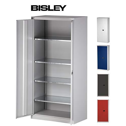 BISLEY Aktenschrank   Werkzeugschrank   Flügeltürenschrank Tiefe =50 cm - aus Metall abschließbar inkl. 4 Einlegeböden   Lichtgrau