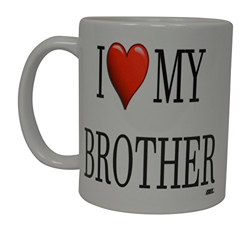 Best Funny Coffee Mug I Love My Brother Heart Novelty Cup Great Gift Idea For Sibling Brother or Best Friend
