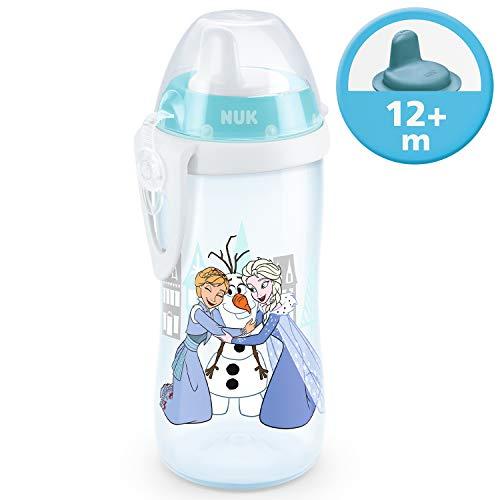 NUK Disney Frozen Kiddy Cup Trinklernflasche mit harte Trinktülle, auslaufsicher, 12+ Monate, BPA-frei, 300ml, Elsa & Anna (türkis)