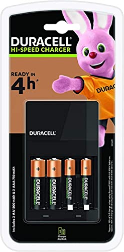 Chargeur de Piles Duracell CEF14 4 Heures, Avec Piles Rechargeables incluses, AA + AAA
