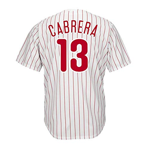 W&F Asdrubal Cabrera Philadelphia Phillies Baseball-Shirt, Baseball-Short Sleeve Spiel Team Uniform Sweatshirt Top (Color : A, Size : M)