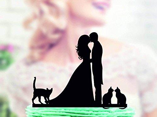 qidushop Decoración para tarta de boda con gato Mr y Mrs con gato novio y novio nuestras mascotas figura decorativa para tarta para boda aniversario regalos boda fiesta regalos para tarta