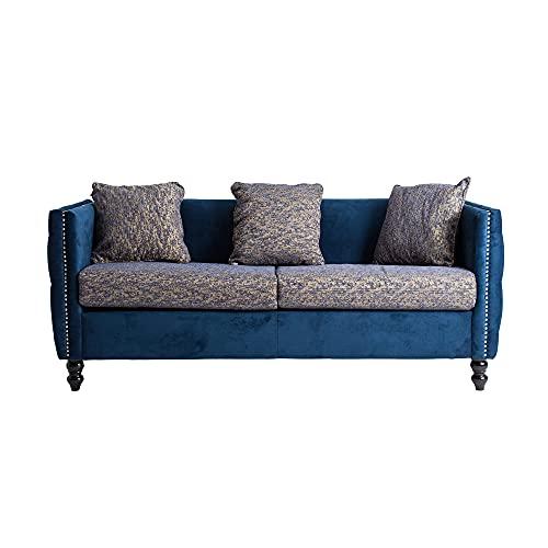Lastdeco Sofa 3 Plazas Terciopelo Estampado Salon Comedor. Asiento Acolchado. 3 Cojines. Diseño Exclusivo. Color Azul. Modelo Idaik. 183 x 72 x 80 cm