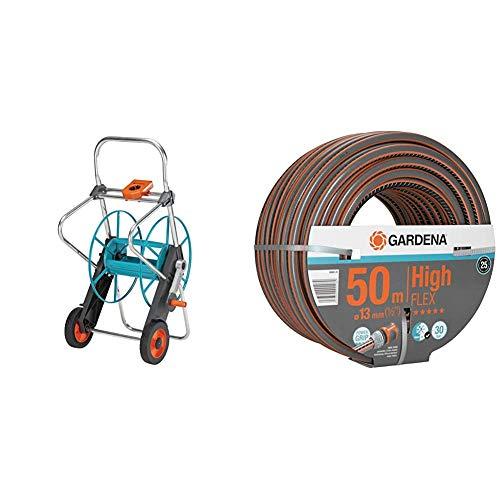 Gardena Metall Schlauchwagen 100: Stabile, beschichtete Schlauchtrommel & Comfort HighFLEX Schlauch 13mm (1/2 Zoll), 50 m: Gartenschlauch mit Power-Grip-Profil, 30 bar Berstdruck, formstabil