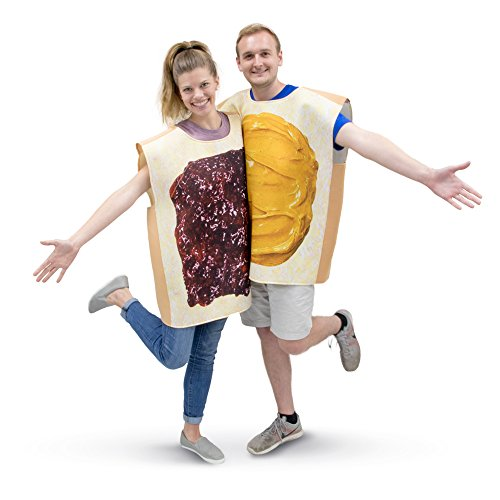 Peanut Butter & Jelly Adult Couple s Halloween Costume | PBJ Funny Food Suits Brown