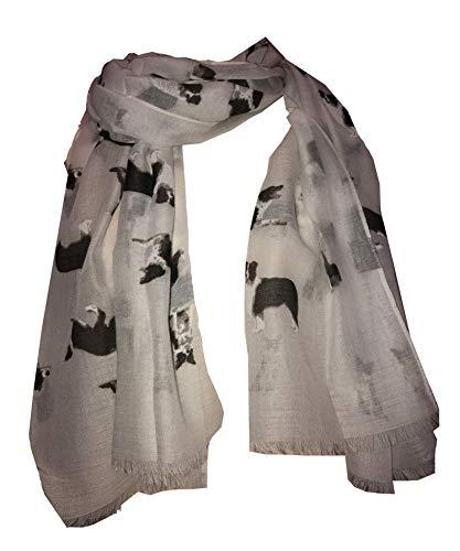 Pamper Yourself Now Weiße Grenze Collie Hund lange Schal mit ausgefransten Rand - white border collie long scarf