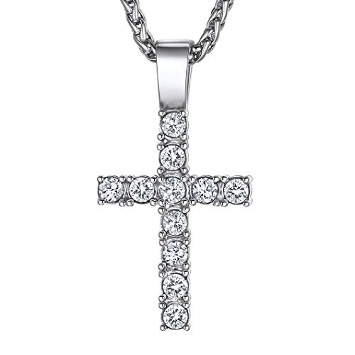 Cross Necklace For Women Ice Out Pendant & Resizbale 22Inch Wheat Chain, Present For Girlfriend Wife Mother Daughter Stainless Steel Christian Jewellery For Girls Crucifix Neck Chain (With Gift Box)