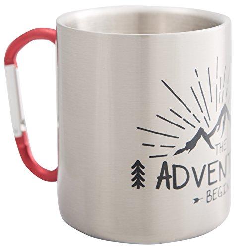 The Adventure Begins - Hochwertige Edelstahltasse mit Karabiner Henkel im Outdoor und Berg Design, ideal für Wandern, Trekking - bruchsicher und leicht, doppelwandige Isolation - von MUGSY.de