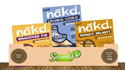 Serendib's Nakd Best Seller Bars Box of 12 | Vegan Chocolate Alternative | Gluten-Free | Healthy Snack | Multipacks of 4 | Fruit & Nut Bars