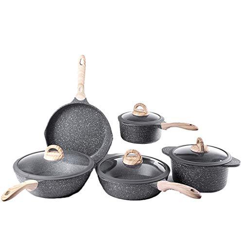 HSJ LF- Sartén de inducción, se adhieren los sartenes no, de 5 Piezas Conjunto Grande Wok + freír Wok + Sopa Pot + Cacerola + Pan Leche