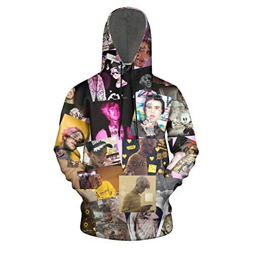 Heart Wolf Boys' 3D Print White Lil-Peep-Hellboy- Pullover Hoodie Sweater Hooded