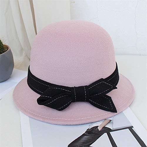 Bin Zhang Sombreros de lana para otoño e invierno con lazo coreano, sombrero pequeño de cúpula británica (color: almidón de raíz de loto, tamaño: talla única)
