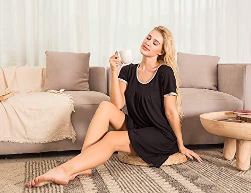 Ekouaer-Womens-Nightgown-Short-Sleeve-Sleepwear-Comfy-Sleep-Shirt-Pleated-Scoopneck-Nightshirt-S-XXL