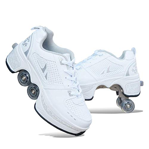 MLyzhe Deformation Roller Shoes Adult Children's Automatic Walking Shoes Male Female Skating Shoes Invisible Pulley Shoes Skates with Double-Row Deform Wheel White