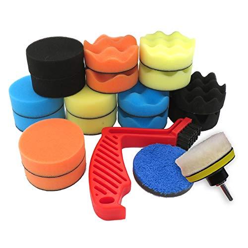 JINA Kit de almohadillas de pulido para taladro de espuma de 80 mm, disco de pulido de coche, 16 almohadillas de pulido, almohadillas de lana, limpieza multifuncional