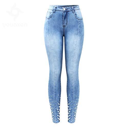 Z-BAIBAO Perla con Tachuelas Jeans Women 's Mediados de Cintura Alta Stretch Patchwork Denim Skinny Pants OL Jeans Blue L (Ropa)