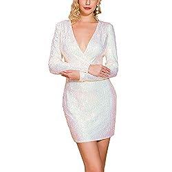 Deep V White Sequin Long Sleeve Elegant Mini Dress