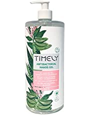 Timely, gel mani antibatterico con aloe, formato da viaggio, 1000 ml